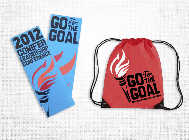 inscape designs graphic design bookmark and bag/promotional design 2012 conifer